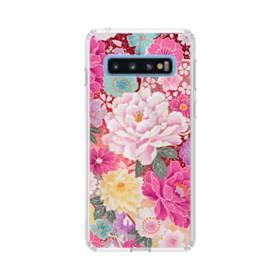 和の花柄:牡丹 Samsung Galaxy S10 TPU クリアケース