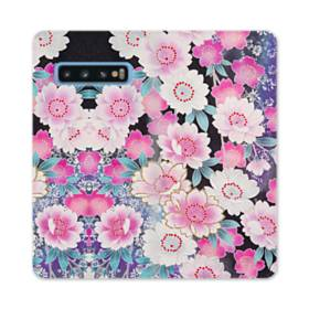和の花柄 Samsung Galaxy S10 合皮 手帳型ケース