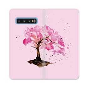 水彩画・桜の木 Samsung Galaxy S10 合皮 手帳型ケース