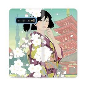 ザ・桜&ジャパンガール! Samsung Galaxy S10 合皮 手帳型ケース