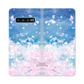 桜の花びら Samsung Galaxy S10 合皮 手帳型ケース