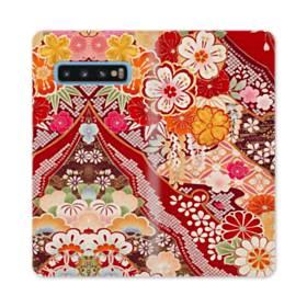 和・花柄 Samsung Galaxy S10 合皮 手帳型ケース