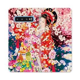 和・花魁&桜 Samsung Galaxy S10 合皮 手帳型ケース