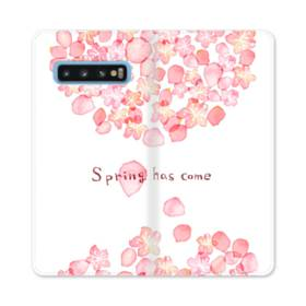 桜&デザイン英文 Samsung Galaxy S10 合皮 手帳型ケース
