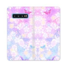 爛漫・抽象的な桜の花 Samsung Galaxy S10 合皮 手帳型ケース