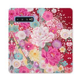 和の花柄:牡丹 Samsung Galaxy S10 合皮 手帳型ケース