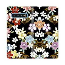 和風・桜&浪 Samsung Galaxy S10 合皮 手帳型ケース