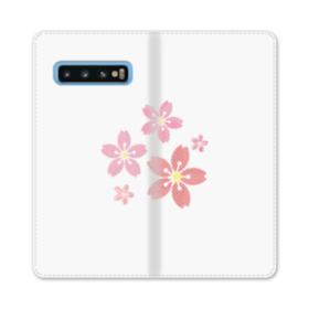 春・桜の花002 Samsung Galaxy S10 合皮 手帳型ケース