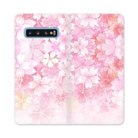 爛漫・ピンク&桜色 Samsung Galaxy S10 合皮 手帳型ケース