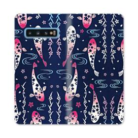 和柄:桜&錦鯉 Samsung Galaxy S10 合皮 手帳型ケース
