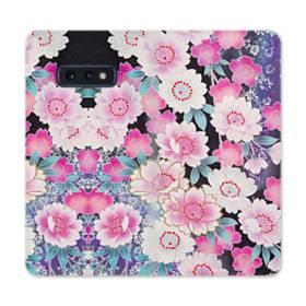 和の花柄 Samsung Galaxy S10e 合皮 手帳型ケース