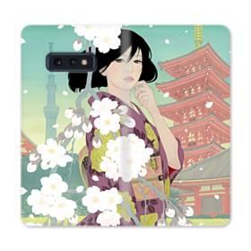 ザ・桜&ジャパンガール! Samsung Galaxy S10e 合皮 手帳型ケース