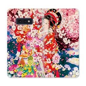 和・花魁&桜 Samsung Galaxy S10e 合皮 手帳型ケース