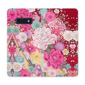 和の花柄:牡丹 Samsung Galaxy S10e 合皮 手帳型ケース