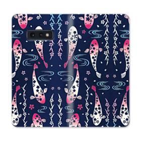 和柄:桜&錦鯉 Samsung Galaxy S10e 合皮 手帳型ケース