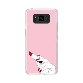女の子の口紅と赤い爪 Samsung Galaxy S8 Active TPU クリアケース