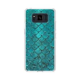 ブル系 デザイン・パターン「鱗」 Samsung Galaxy S8 Active TPU クリアケース