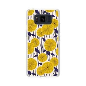 デザイン・花のモチーフ:黄色のひまわり&紺色の葉 Samsung Galaxy S8 Active TPU クリアケース