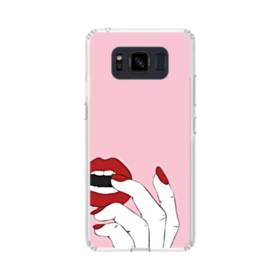 女の子の赤い唇と爪 Samsung Galaxy S8 Active TPU クリアケース