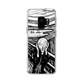 ユニークな白黒系アート:あーーーーー! Samsung Galaxy S9 TPU クリアケース