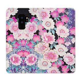 和の花柄 Samsung Galaxy S9 Plus 合皮 手帳型ケース