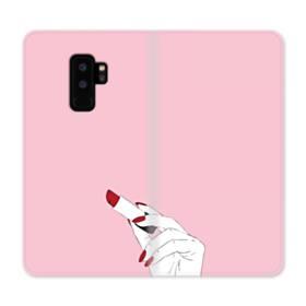 女の子の口紅と赤い爪 Samsung Galaxy S9 Plus 合皮 手帳型ケース