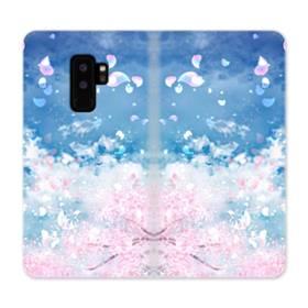 桜の花びら Samsung Galaxy S9 Plus 合皮 手帳型ケース