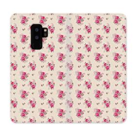 薄い紫を背景にした花束・パターン Samsung Galaxy S9 Plus 合皮 手帳型ケース