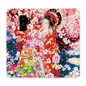 和・花魁&桜 Samsung Galaxy S9 Plus 合皮 手帳型ケース