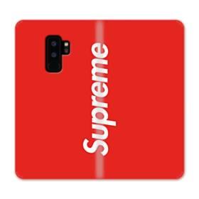 ニューヨークより赤のシュプリーム(super me) Samsung Galaxy S9 Plus 合皮 手帳型ケース