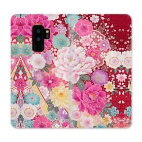 和の花柄:牡丹 Samsung Galaxy S9 Plus 合皮 手帳型ケース