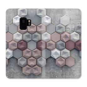 つぶつぶ六角形 Samsung Galaxy S9 合皮 手帳型ケース