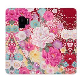 和の花柄:牡丹 Samsung Galaxy S9 合皮 手帳型ケース