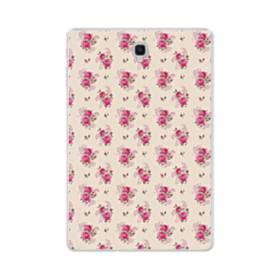 薄い紫を背景にした花束・パターン Samsung Galaxy Tab S4 10.5 TPU クリアケース