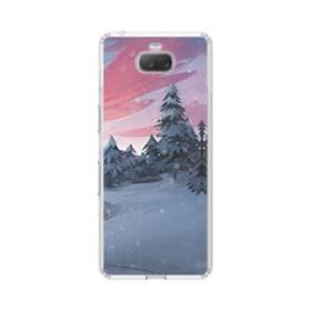 夕暮れの雪山&松の木 Sony Xperia 10 Plus TPU クリアケース