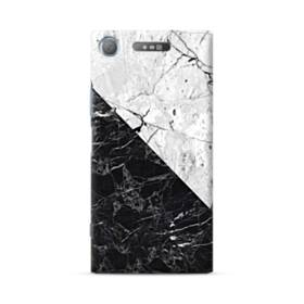 ミックス・マーブル:白&黒 Sony Xperia XZ1 ポリカーボネート ハードケース