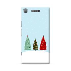 クリスマス デザイン ツリー&雪 Sony Xperia XZ1 ポリカーボネート ハードケース