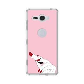 女の子の口紅と赤い爪 Sony Xperia XZ2 Compact TPU クリアケース