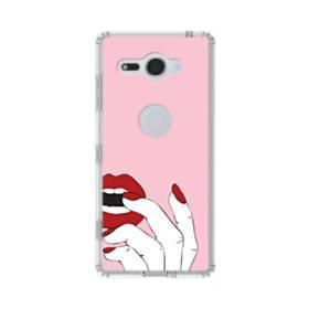 女の子の赤い唇と爪 Sony Xperia XZ2 Compact TPU クリアケース